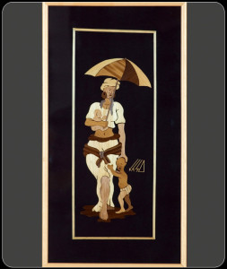 African Painting – Framed Collarge Art – Mother and Child