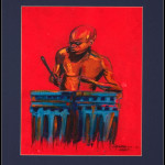 African Painting - Pastel Drawing - African Drummer Lrg