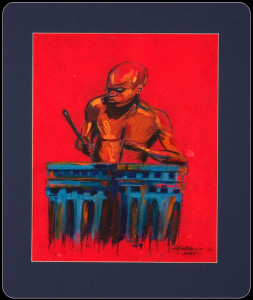 African Painting – Pastel Drawing – African Drummer Lrg